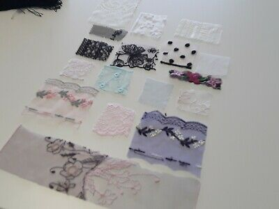 Job Lot Bundle Lace & Mesh Samples- Student Uni College, Fashion Design Sampling