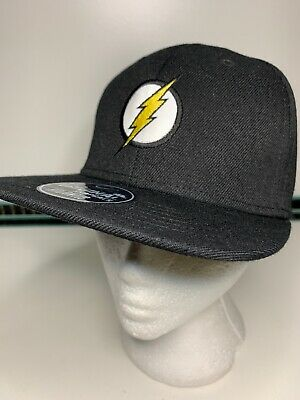 Official DC Comics The Flash Logo Snapback Baseball Cap Hat Black Flat Peak NEW