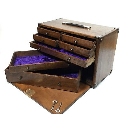 Antique Wooden Engineers Tool Case / ToolBox / Cabinet Collectors Chest With Key