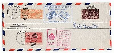 DICK MERRILL 1894-1082 Famed early aviation pioneer Signed 1937 Coronation cover