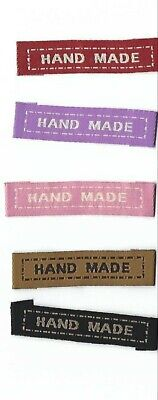 """BN 20 Fabric woven Labels """"Hand Made"""" Sew On Clothing/Craft Labels Tags FREEPOST"""