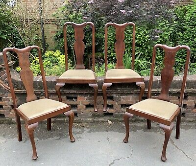 Set Of 4 1920's Mahogany Frame Queen Anne Style Dining Chairs With Drop In Seats