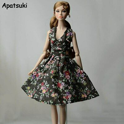 Black Flower Countryside Floral Dress For Barbie Doll Clothes Outfits 1/6 Toy