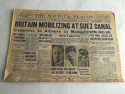 VTG Newspaper 1935 Britain Mobilizing At Suez Canal Wichita Eagle Section A