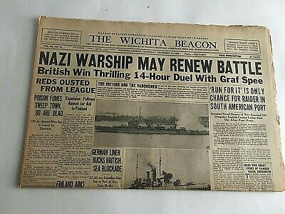 VTG Newspaper Dec.14 1939 Nazi Warships May Renew Battle Wichita Eagle Section A
