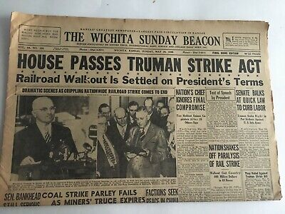 Newspaper 1946 House Passes Truman Strike Act Railroad Wichita Beacon Section A
