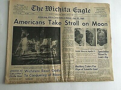 Vintage Newspaper July 21,1969  AMERICANS TAKE STROLL ON MOON Wichita Eagle
