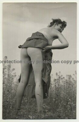 Woman Out In Nature Lifts Skirt - Upps No Panties (Vintage Photo B/W ~1950s)