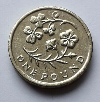 2014 N. Ireland; Flax & Shamrock , Round old £1 coin, circulated