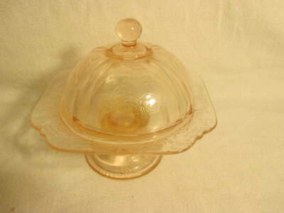 Indiana Glass Footed Candy Dish & Lid Recollection Pink