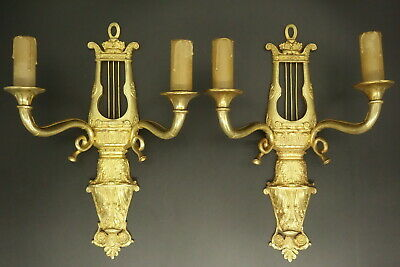 Pair Of Sconces, Lyre Decor, Empire Style, End 19Th - Bronze - French Antique