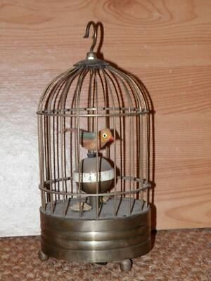 Vintage Alarm Clock Wind Up Moving Bird Cage Mechanical 20cm Tall