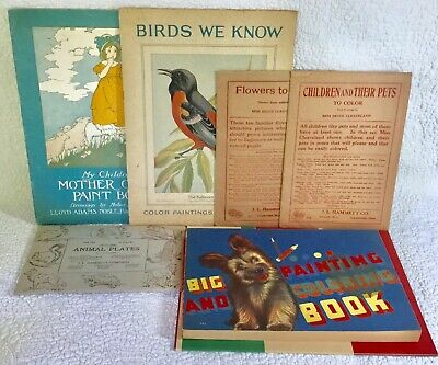 Antique Lot Of 7 Coloring/Painting/Illustration Books & Plate Sets