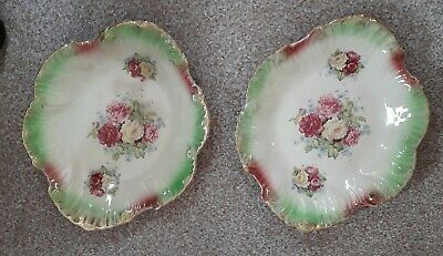 Antique Vintage Pair Of Oval Fluted Decorative Dishes Roses. 29cm Across