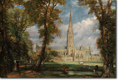 """1955 Vintage /""""SALISBURY CATHEDRAL FROM BISHOP/'S GARDEN Full Color Art Lithograph"""