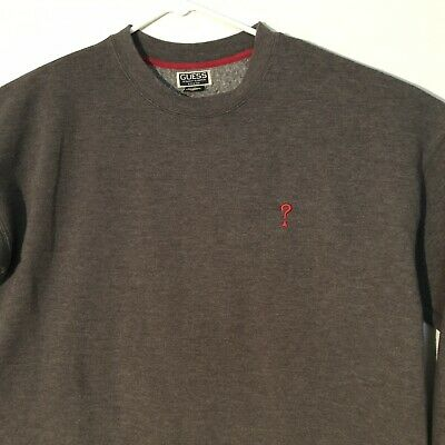 50aa19e62 Guess Mens Sweatshirt XL Gray Crewneck Embroidered Red Logo Vintage Grey  Solid