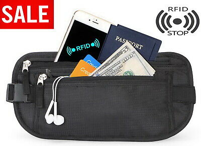 Travel Money Belt RFID Wallet Hidden Under Clothes Waist Pouch Secure Holder