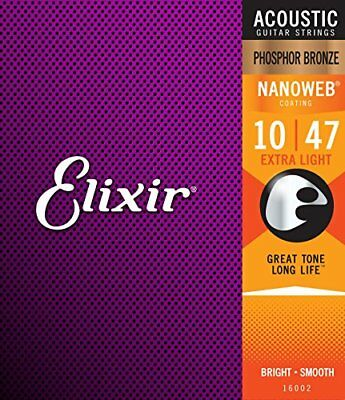 Elixir Nanoweb Phosphor Bronze Extra Light Acoustic Guitar Strings 16002 New I