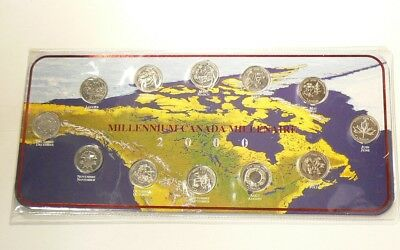 🍁 2000 Canada Millenium  25 Cents Collection MInt State Coins #2338