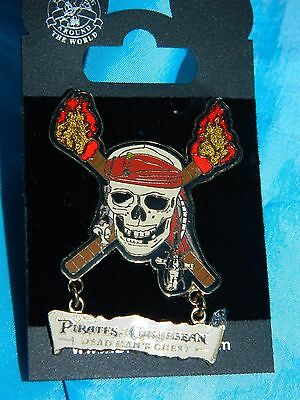 Disneyland Pirates of the Caribbean Dead Man's Chest Skull Crossed Torches 46399