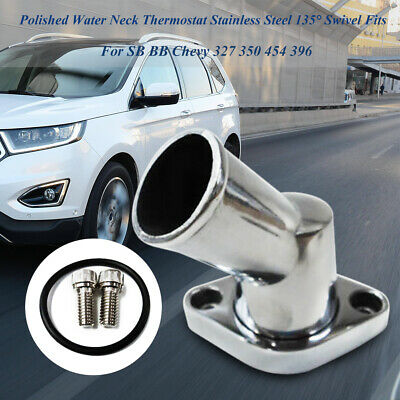 Polished Car Aluminum 45 Degree Swivel Water Neck for Car SBC BBC Chevy 327 350