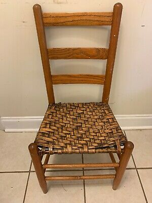 Antique Chair straight hand woven bottom sturdy