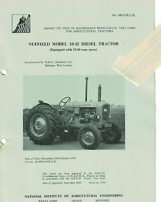 NIAE Test Report On Test Nuffield 10/42 Diesel Tractor 1965 5512F