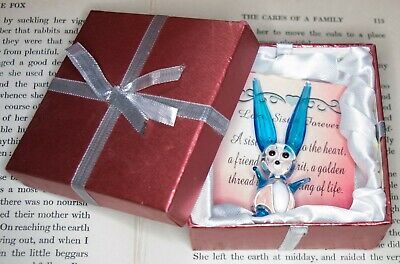 Gift Boxed Blue and Clear Glass Bunny Rabbit Sister Gift Ornament