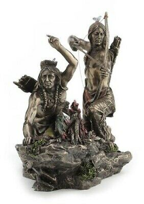 Native American Indian Warriors Hunting Statue Sculpture *GIFT BOXED
