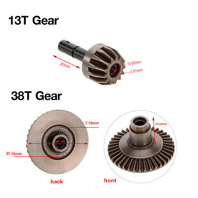 13T 38T Metal Crown Gear Differential Main Gear Combo Set for Front/ Rear F4R7