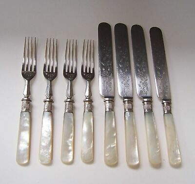 4 Engraved Silver Plated Fruit/Dessert Knives & Forks - Mother of Pearl MOP