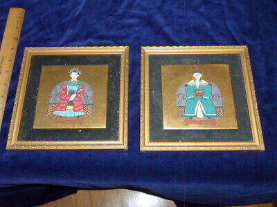 Pair of Japanese Emperor Paintings On Wood - Signed Stamped