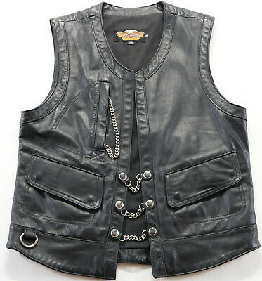 vintage USA mens harley davidson leather vest s embossed v twin chain extenders