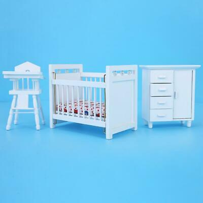 3Pcs/set Wooden Eco-friendly Furniture Model for 1:12 Doll House Child Bedroom