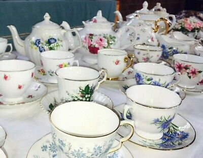 Vintage  porcelain crockery tea sets wedding afternoon tea for  HIRE Cambridge.