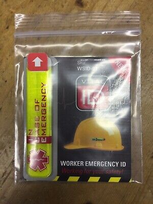 1 x Vital ID safety helmet worker accident emergency ICE medical tag hard hat.