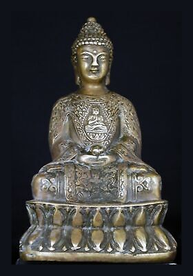 Ornate Repousse Chinese Brass Bronze Seated Buddha