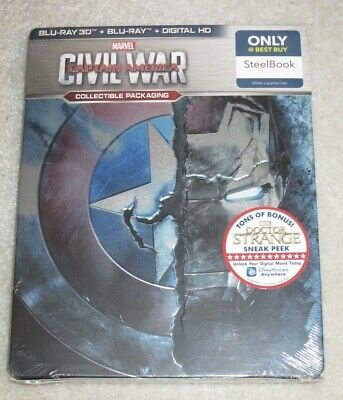 NEW Marvel Captain America Civil War Steelbook 3D Blu-Ray + 2D + Digital Copy