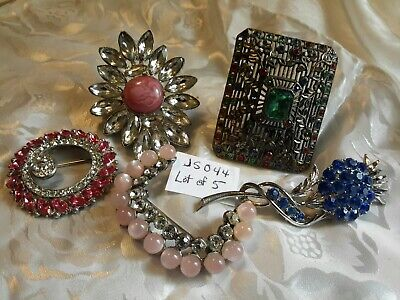 Vintage Mixed Lot Of 5 Rhinestone  Cabochon Brooches Great Condition Old(Js044)