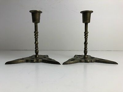 Vintage Pair Brass Candlesticks, Lovely Unusual Ornate  Base, 13cm Tall