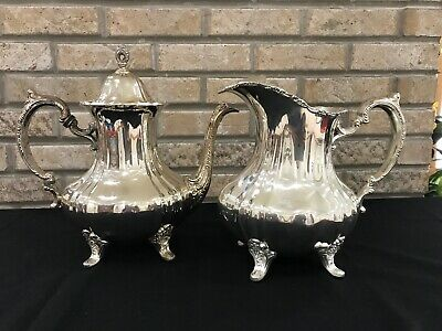 Vintage Poole EPCA Lancaster Rose 401 Silver Plate Water Pitcher 400 Coffee Pot