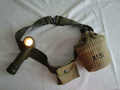 Wwii Us Army, Marine Corps Web Belt, Canteen, Cup, Holder, Flashlight, Pouch