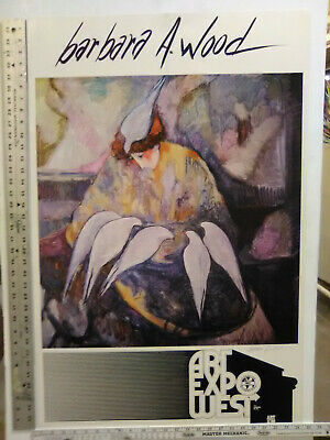"""RARE VINTAGE Hand Signed BARBARA A. WOOD Art Expo poster """"DOVES"""" 1980"""