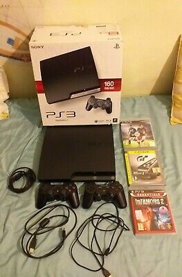 Sony PLAYSTATION 3 - PS3 Console -Nero Slim 160GB 2 joypad e 3 videogames