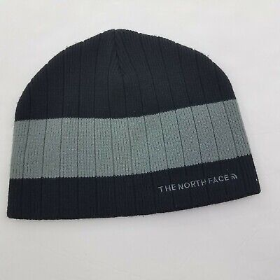 The North Face Black Gray Beanie Cap OS Winter Hat Cap Stripe Ribbed Mens Womens
