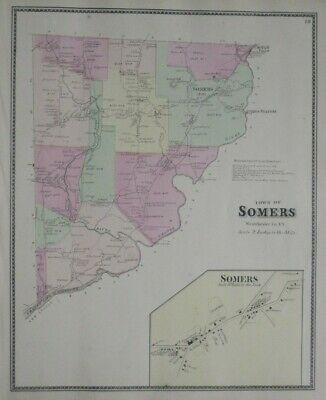Original 1867 Antique Map SOMERS Westchester County New York Croton River Beers