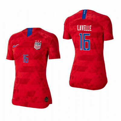Nike Rose Lavelle #16 Usa 2019 World Cup Women's Away Red Womens Soccer Jersey