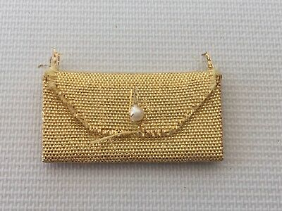 Vintage Sindy Barbie Doll Gold Fabric Purse Bag with Faux Pearl Closure