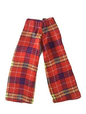 Vintage Sindy Doll Clothes - Tartan Straight Leg Trousers Pants Red S633 1973