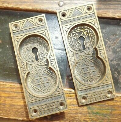 Antique F C Linde & Co Entry EASTLAKE DOOR LOCK Brass Key Hole Plates Vintage
